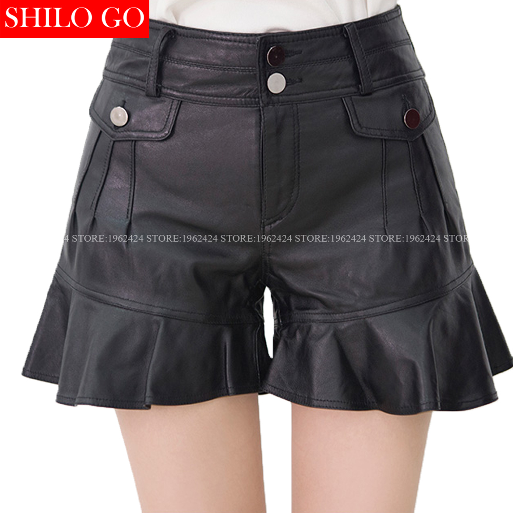 Winter Autumn Fashion Women High Quality Sheepskin Low Waist Buttons Pockets Stacked Ruffles Put Leather Shorts 3XL