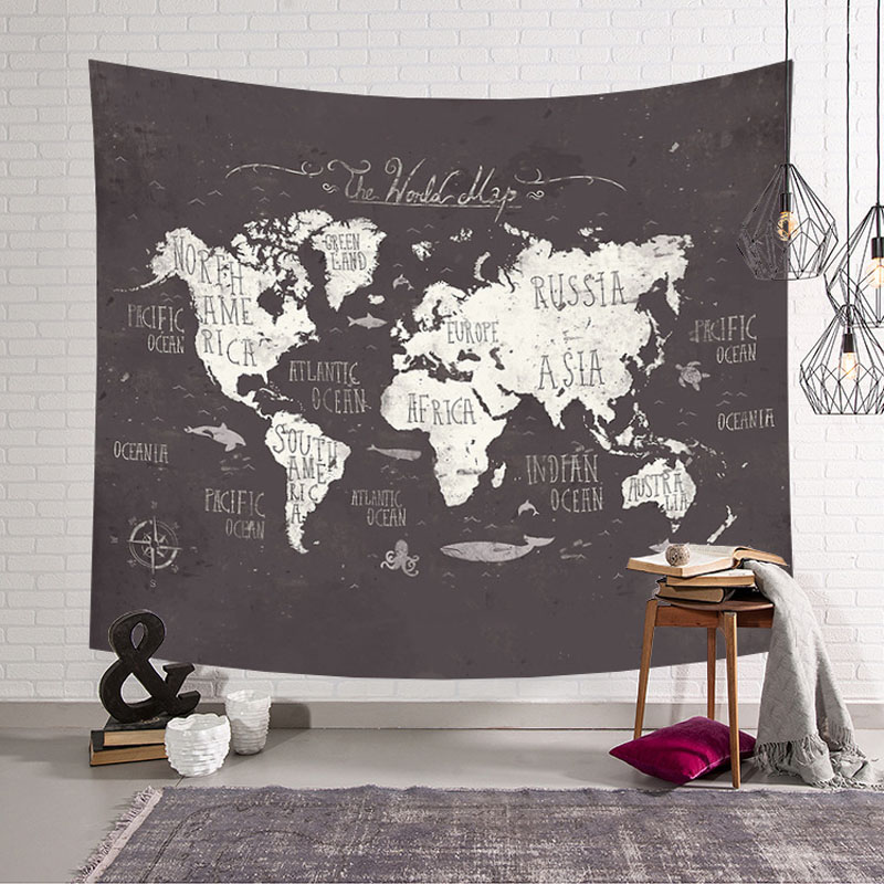 World Map Printed Large Wall Tapestry Cheap Hippie Wall Hanging Bohemian Wall Tapestries Wall Art Decor 200x150CM 150x130CM in Decorative Tapestries from Home Garden