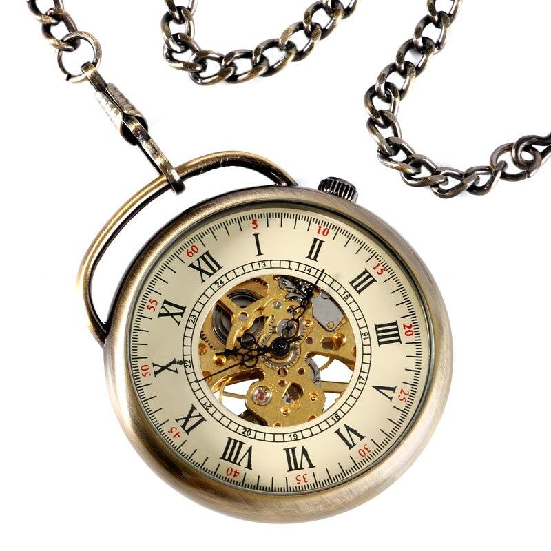 Antique Skeleton Gear Bronze Mechanical Hand Wind Pocket Watch Relogio De Bolso With Chain Men Women Christmas Gift