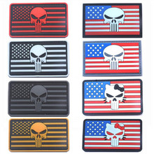 3D PVC Skull USA Flag Badge Punisher Patch Tactics Morale Chapter Stickers Armband 8*5cm