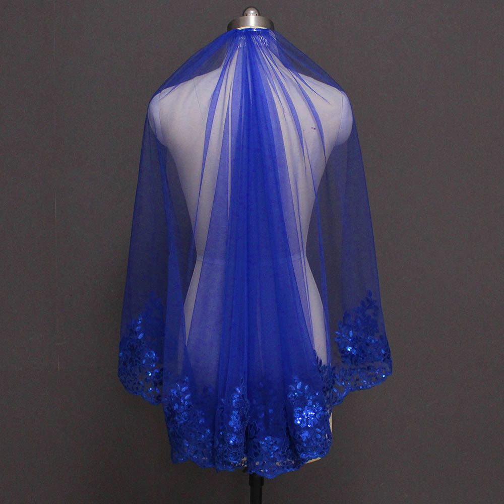 New Arrival Royal Blue Bling Sequins Lace Short Bridal Veil One Layer Beautiful Wedding Veil Bride Accessories