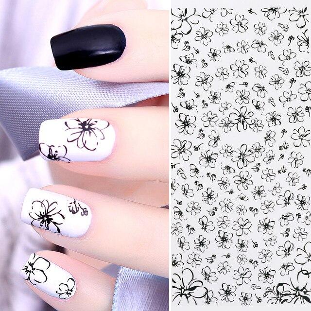 1 Vel Zwart Bloem Nail Water Decal Eenvoudige Tekening Nail Art