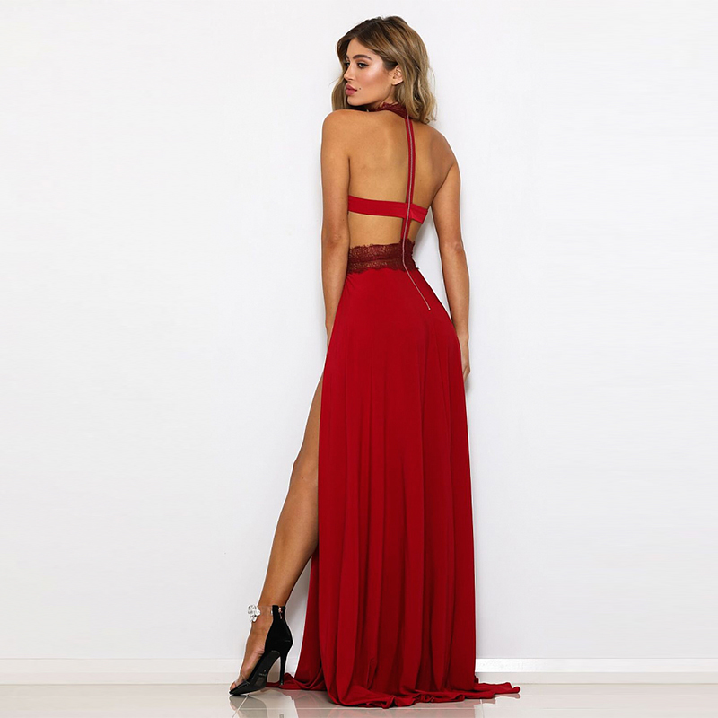 NATTEMAID Red Black Maxi Long Sexy Dress Lace Floral Zipper Hollow Out Dress  Female Backless Elegant Party Vestidos Summer 2019-in Dresses from Women s  ... 86a6988446a3
