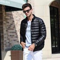Мужской пуховик Новая легкая упаковываемая куртка больших размеров мужской воротник-стойка перо платье мужское зимнее пальто