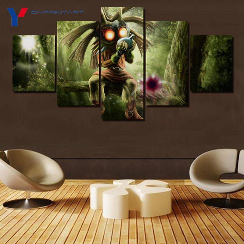 US $10 88 33% OFF|Majora's Mask 5 Pieces Canvas Art Print Game Poster  Decorations for Home Living Room A0467-in Painting & Calligraphy from Home  &