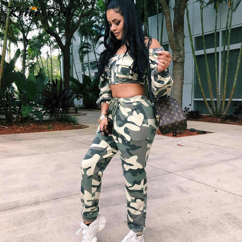 Kricesseen Camouflage Women Two Piece Set Summer Outfits Slash Neck Long  Sleeve Cropped Top Pants Suit 0c475619931f