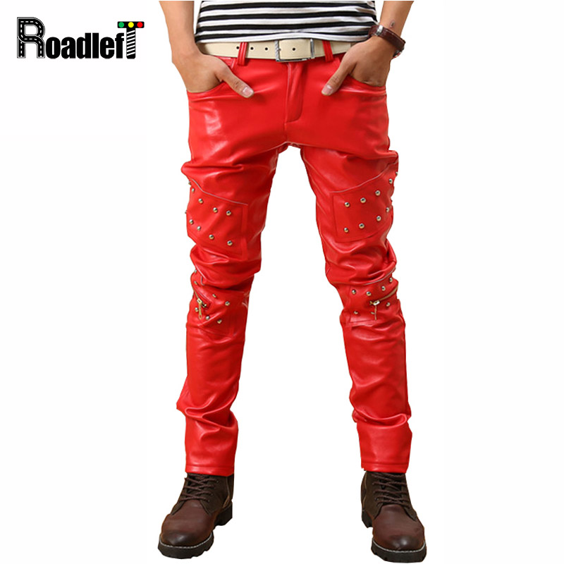 Men sexy skinny PU leather joggers pants Mens tight trouser hip hop harem pants pencil pants Man faux leather pants