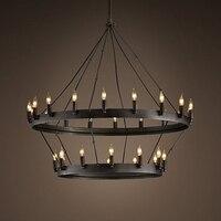 Ретро двухслойная люстра круглый круг Свеча лампа винтовая лестница Подвеска для кабинета, бара магазин домашнего освещения G122