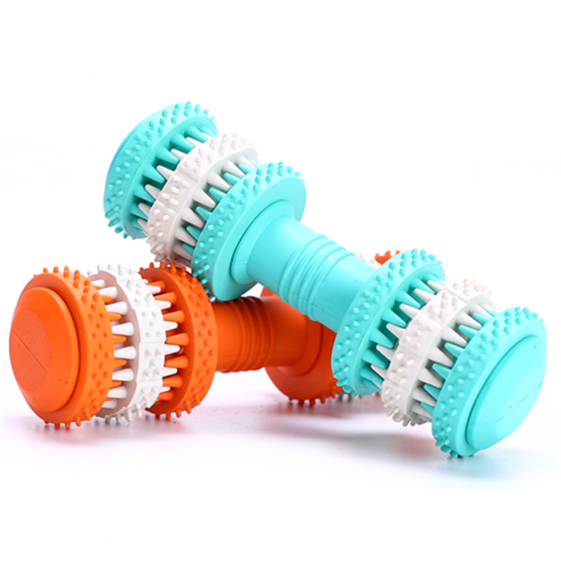 Toy - Rubber Dog Toy Molar Tooth Dumbbell Dental Bite Resistant Tooth Cleaning with 4 Colors