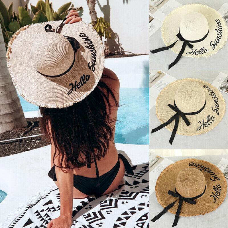 Hirigin Ladies Women Wide Brim Beach Hat Crushable Summer Sun Straw Beach Hat With Bow