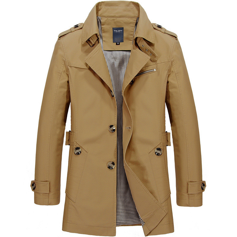 New Spring Autumn Men Jacket Coat Fashion Trench Coat  Casual Fit Overcoat Jacket Outerwear Male