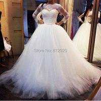 Terence Bridal Tulle Puffy Ball Gown Lace Appliqued Corset Back Long Sleeve Wedding Dresses White in Turkey