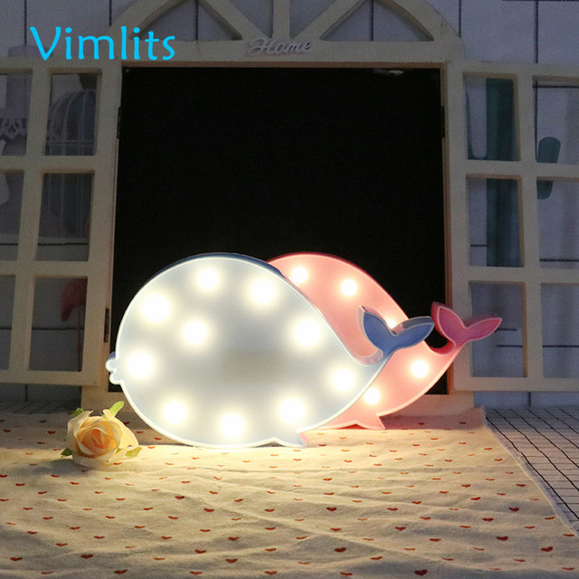 Vimlits Rosa Blauwal Led nachtlicht Kinder Festzelt Lampe ...