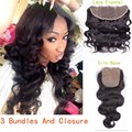 Brzailian Virgin Hair Body Wave With Closure 3 Bundles Hair Bundles With Lace Frontals Closure Silk Base Closure With Bundles