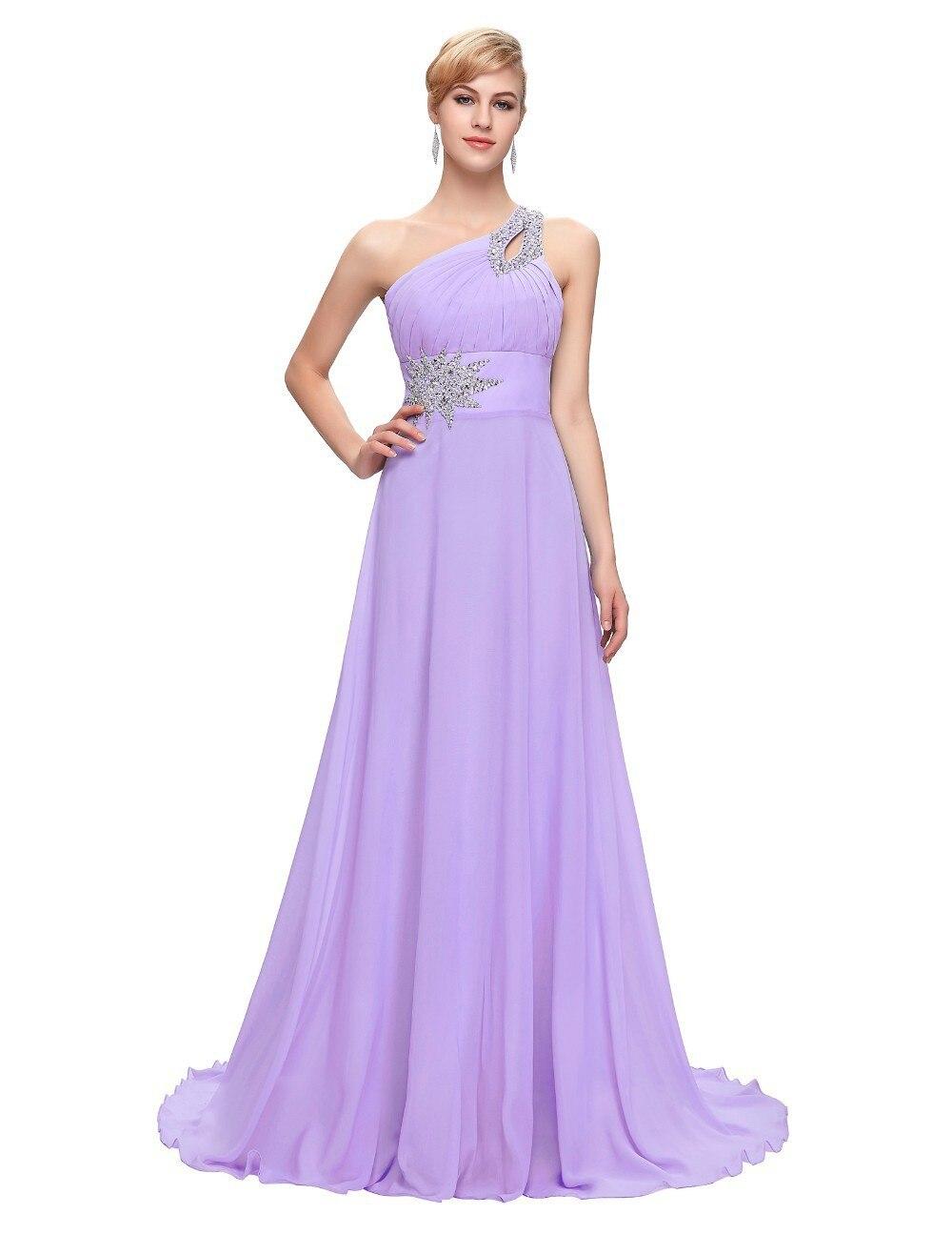 Mode une épaule perlée Robe de Demoiselle D'honneur longueur de plancher femmes Sexy robes de bal robes de mariée Robe Demoiselle D'honneur - 5