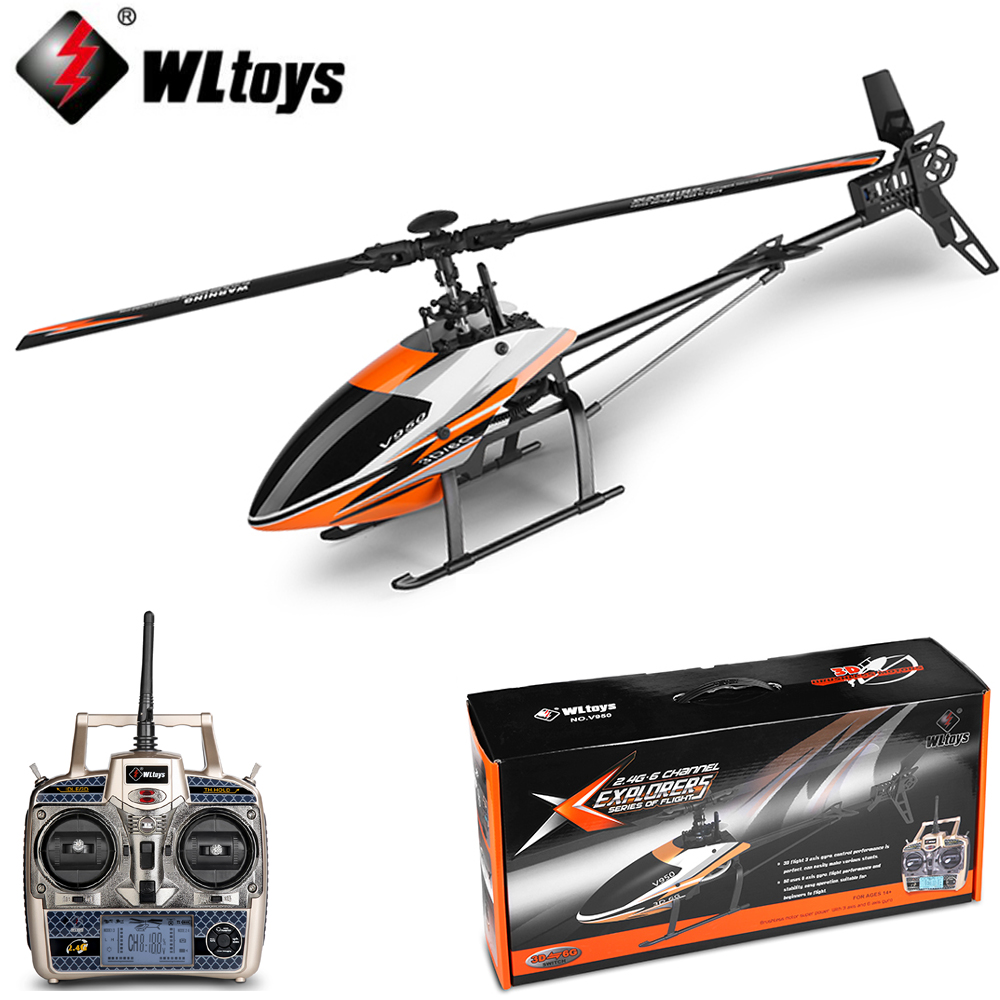 WLtoys V950 Big Helicopter 2.4G 6CH 3D6G System Brushless Flybarless RC Helicopter RTF Remote Control Toys цена