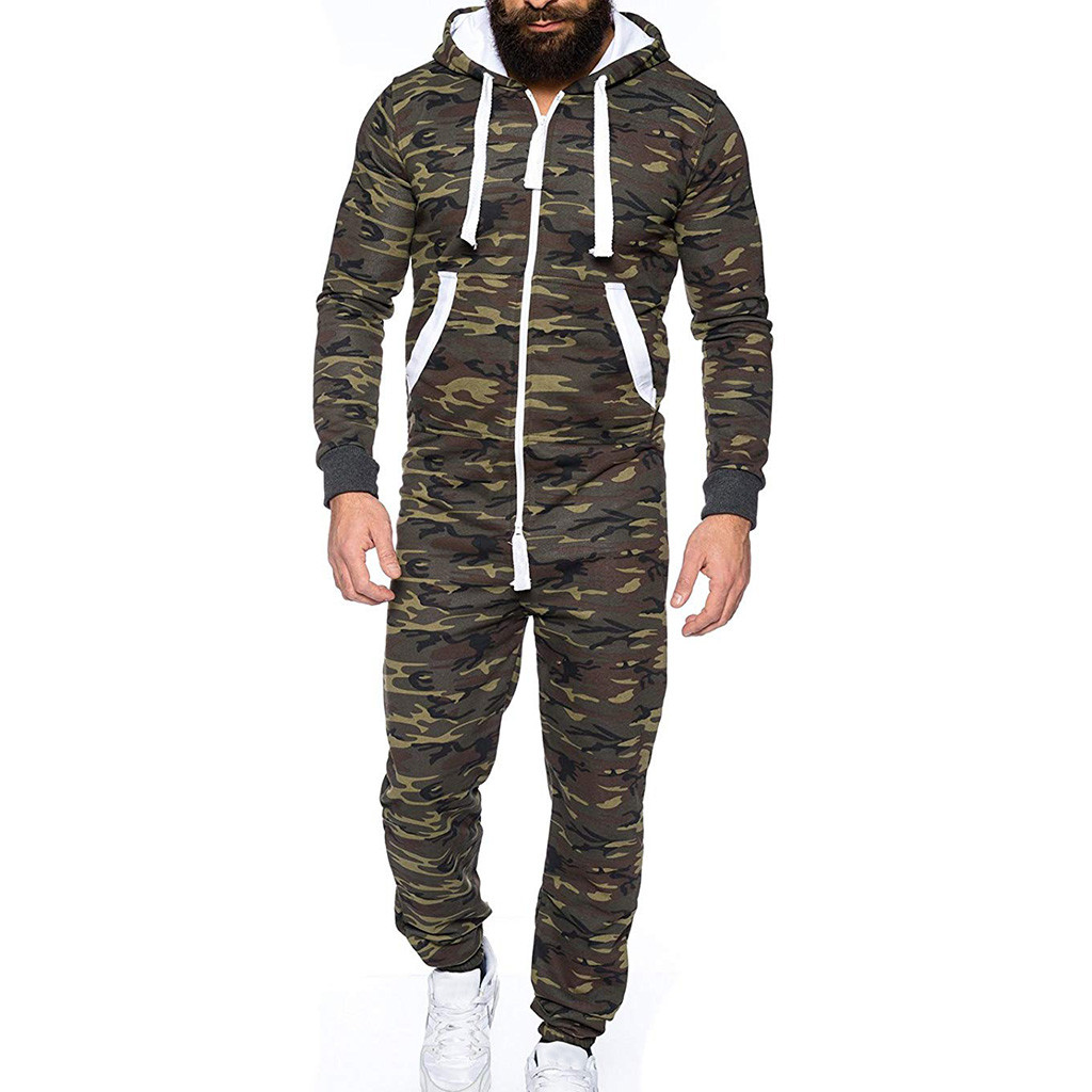 2fd28b09936d Casual men s Jumpsuits autumn mens Camo hoodies One-piece suit long  Overalls pocket Bibs Pants