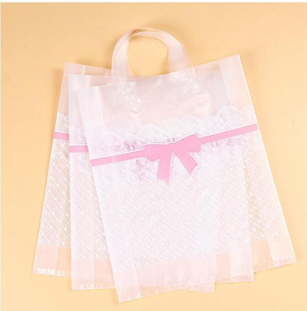 Lace Matte Plastic Bags 38 43cm 8cm Large Ping Bag Clear Packaging