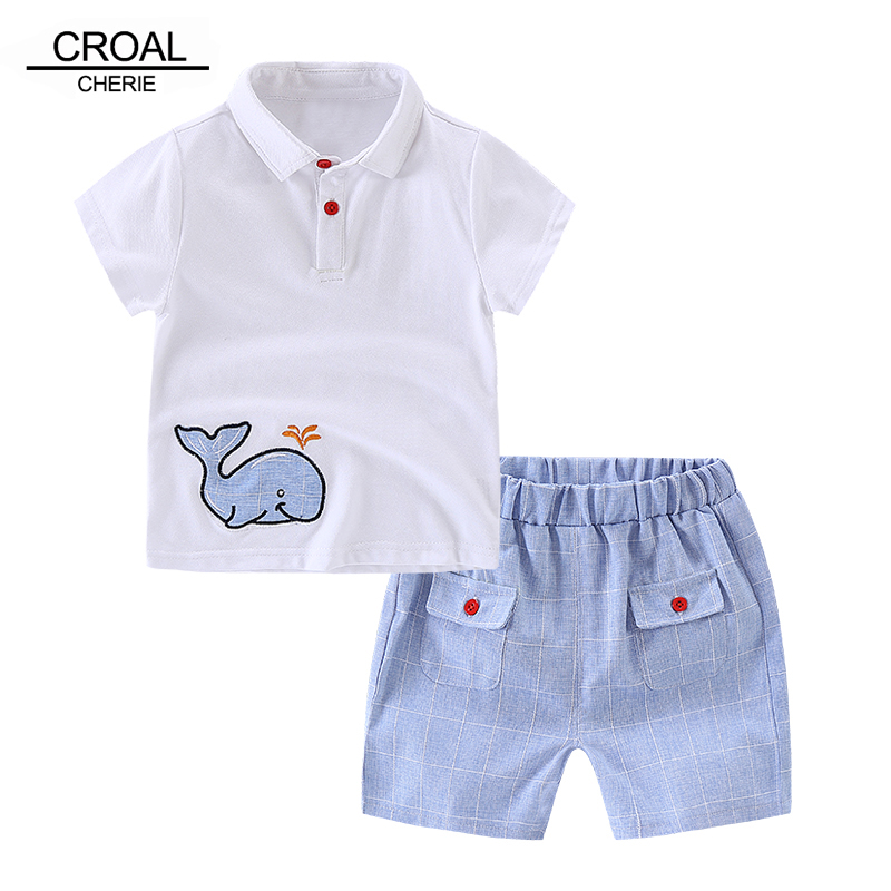80-110cm Cute Whale Kids Boys Clothes Sets Baby Boys Summer Clothing Suits White Short Sleeve T-shirts + Plaid Shorts generic little boys 2 piece set of short sleeve t shirt and plaid shorts gray red