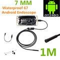 Эндоскопа бороскоп USB Android инспекции камеры HD 6 из светодиодов 7 мм объектив 720 P водонепроницаемый автомобиля Endoscopio трубка мини-камера 1 м длина