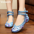 Veowalk Chinese Fashion Woman Flower Embroidery Shoes Old Peking Mary Jane High Top Soft Casual Flats For Women Big Size 34-41