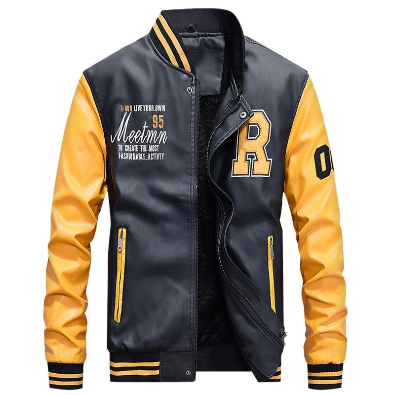 Men's PU Leather Autumn Winter Man Jacket 2019 Fleece Warm Men Coat Baseball Stand Overcoat Male Clothes Outwear