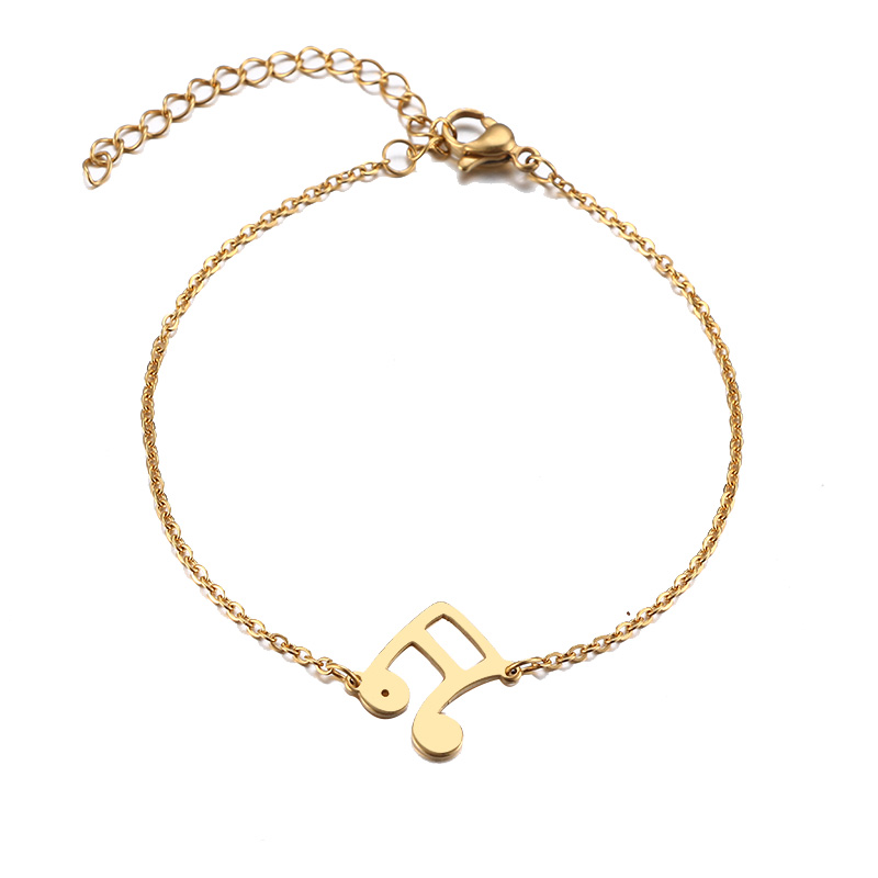 Stainless Steel Bracelet Musical Notes Gold or Silver IMG_7074