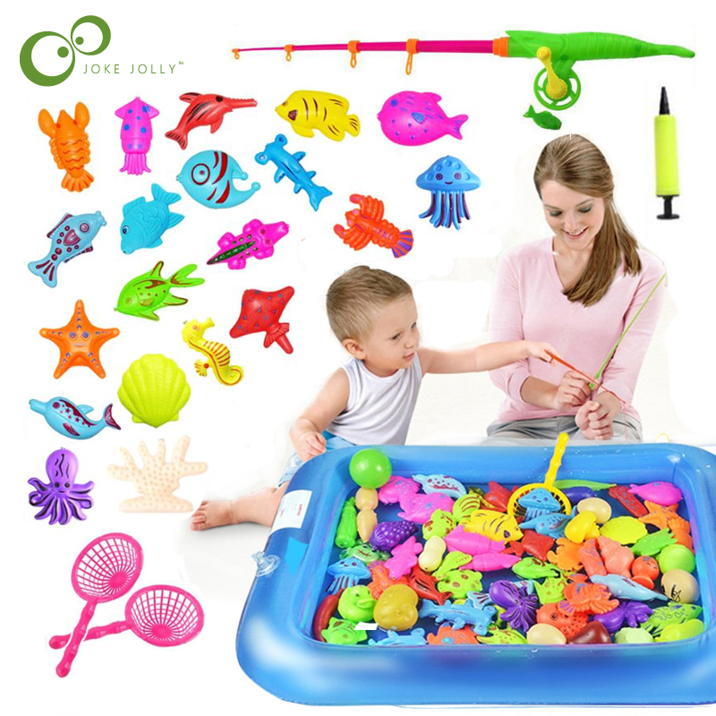 Magnetic Fishing Toy Rod Net Set Inflatable Pool For Kids Child Model Play Fishing Games Outdoor Toys For Baby GYH