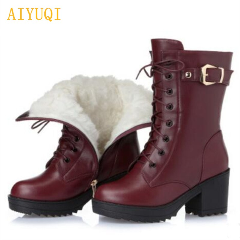 AIYUQI 2019 new genuine leather women s winter boots thick warm wool rubber ski boots warming