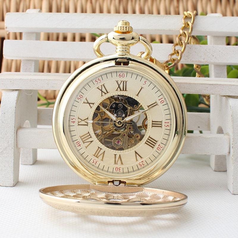New Style Luxury Gold Hand Wind Mechanical Pocket Watch for men women gifts TJX010