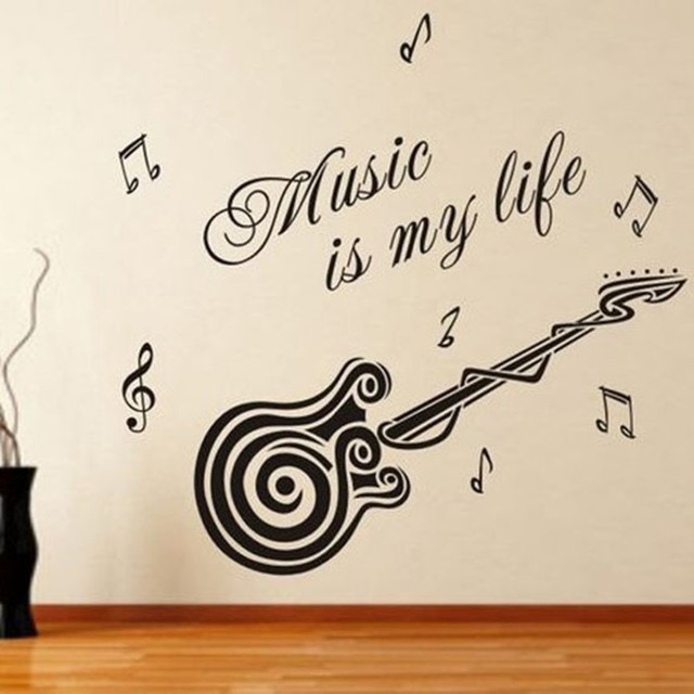 M 002 Free Shipping DIY MUSIC IS MY LIFE Home Decor Music Wall ...