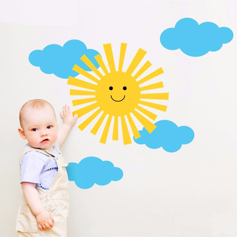 Children Room Wall Art Decal Smiley Sun And Clouds Wall Sticker For ...