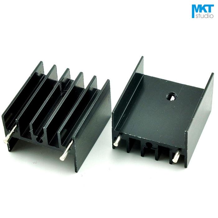 100Pcs Black 25x23x16B Pure Aluminum Cooling Fin Radiator Heat Sink