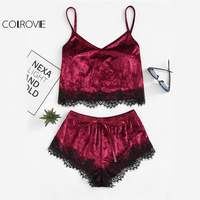 COLROVIE Burgundy Velvet 2 Piece Set Women Eyelash Lace Cami Top With Shorts Set 2017 Casual