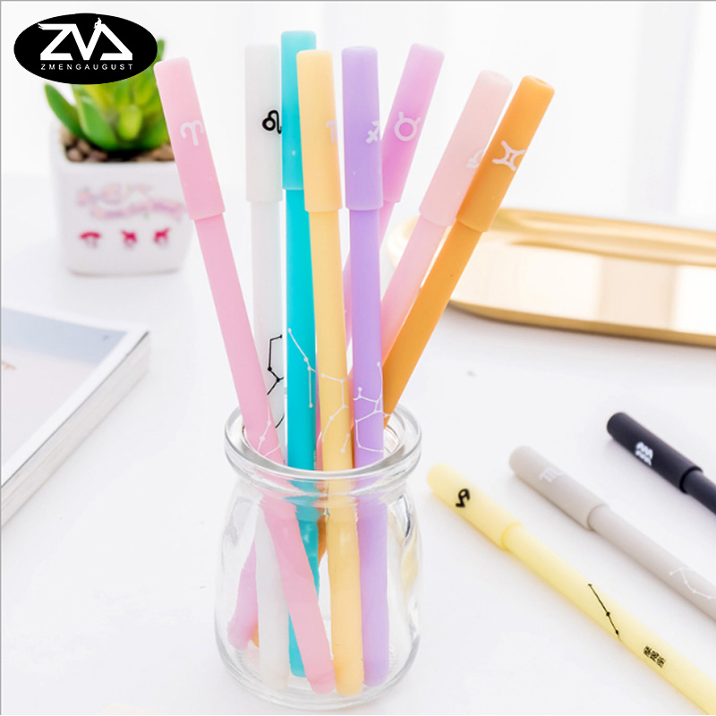 12pcs/lot Twelve constellations gel pen creative office pen gift kawaii caneta free shipping School stationery supplies 3 pcs lot new cartoon colorful owl gel pen set kawaii stationery creative gift school office supplies 04085