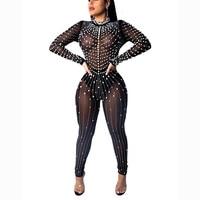 Women Mock Neck Jumpsuit Sequin Rhinestone Bubble Beads Jumpsuits Long Sleeve Skinny Bodysuits Clubwear Party One Piece Romper