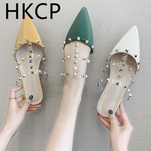 HKCP 2019 summer new Korean version pointed rivet fashion versatile flat head wrap slippers half - loafer womens shoes C480
