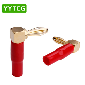 Image 5 - YYTCG 8Pcs Right Angle 90 Degree 4mm Banana Plug Screw L Type for Binding Post Amplifiers Video Speaker Adapter Connector
