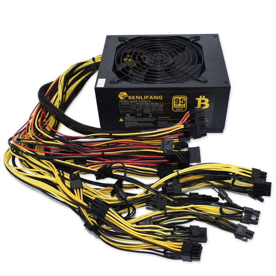 2pcs Asic Bitcoin New Gold Power 2000W PLUS BTC Power Supply ATX Mining Machine Supports 8