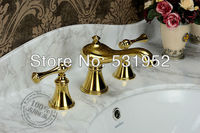 3 Piece Set Water Tap Bathroom Faucet Mixer Deck Mounted Sink Tap Basin Toilet Faucet Set Gold Finish Mixer Tap Faucet