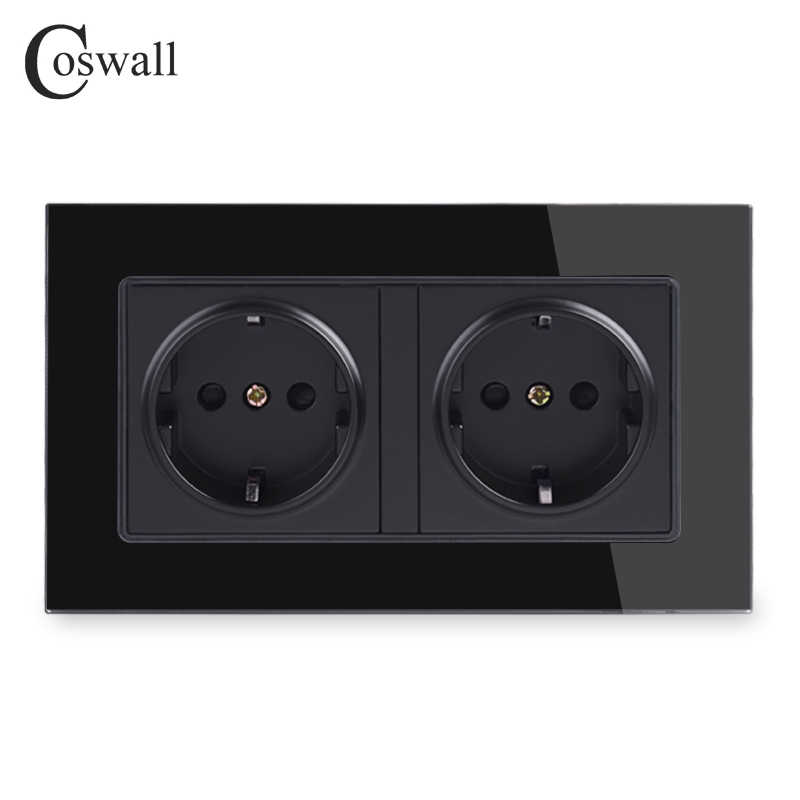 Coswall Wall Crystal Glass Panel Power Socket Grounded 16A EU Standard Electrical Black Double Outlet 146mm * 86mm