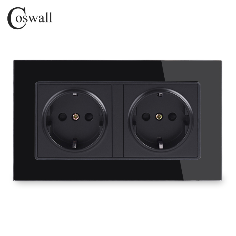 Coswall Wall Glass Panel 16A EU Russia Spain Double Socket Grounded With Children Protective Door Black Color 146 86mm