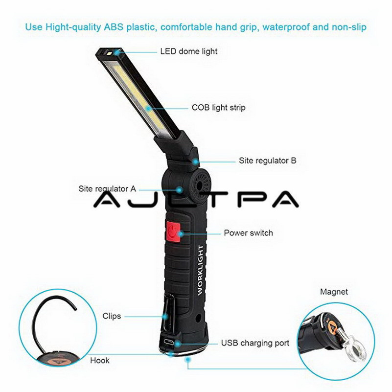 Lanterna led recarregável, com base magnética, 5
