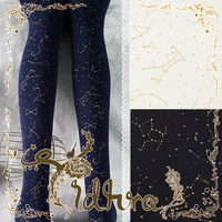 Princess Sweet Lolita Pantyhose Autumn And Winter Style Galaxy Night Constellation The Starry Sky Black Velvet