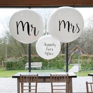 Image 4 - Büyük boy 36 inç Mr Mrs beyaz lateks balonlar düğün parti için, gelin, gelin, nişan parti hava Globos parti malzemeleri