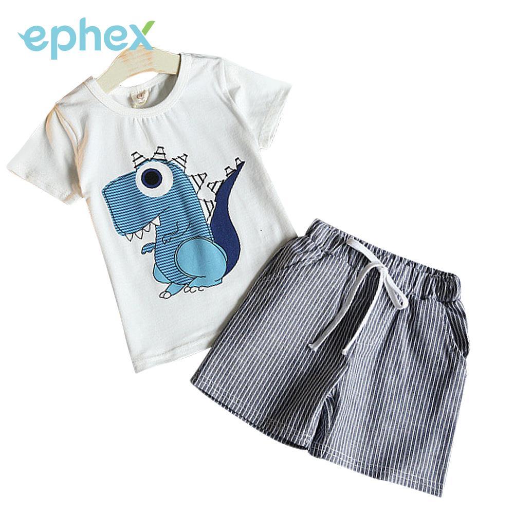 Peradix Boys Summer Cloth Kids Summer Cloth 2 Pcs/Set Cotton Cartoon Baby Pants Newborn