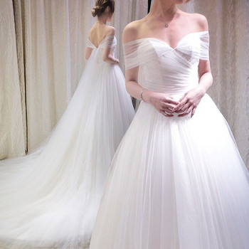 Faat shipping Wedding Dresses 2018  Imported Soft Tulle Beautiful A-Line Wedding Gowns V-neck Elegant Princess  Vestido de Noiva