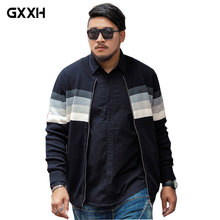GxxH 2017 brand Men's Large size XXL-7XL Long-sleeved Casual Sweater Men's Autumn Striped Thick Loose Black Sweater With zipper
