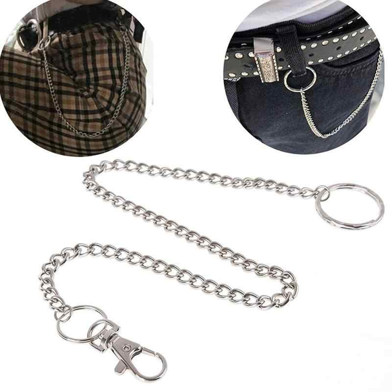 41cm Long Metal Wallet Belt Chain Rock Trousers Hipster Pant Jean Keychain Silver Ring Clip Keyring Mens Woman Hiphop Jewelry