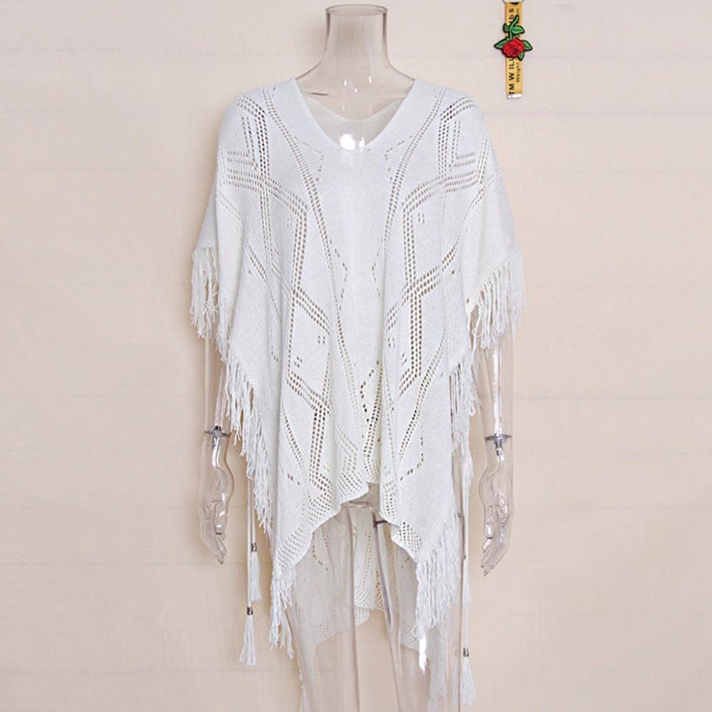 Women Cover ups female T-shirt Beach Cover up Swimwear Tassel White Black Bathingsuit Cover ups Beachwear Shirt Blouse